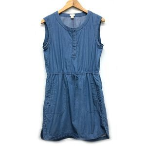 J. Crew Sleeveless Chambray Denim Sun Dress S
